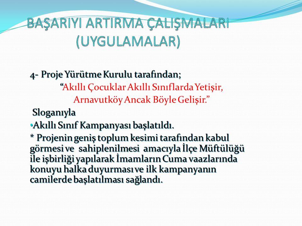 4- Proje Yürütme Kurulu tarafından; Akıllı Çocuklar Akıllı Sınıflarda Yetişir, Arnavutköy Ancak Böyle Gelişir. Sloganıyla Sloganıyla Akıllı Sınıf Kampanyası başlatıldı.