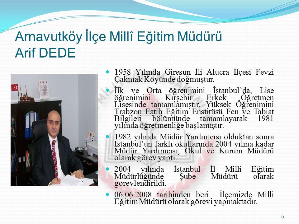 Arnavutköy İlçe Millî Eğitim Müdürü Arif DEDE 1958 Yılında Giresun İli Alucra İlçesi Fevzi Çakmak Köyünde doğmuştur.