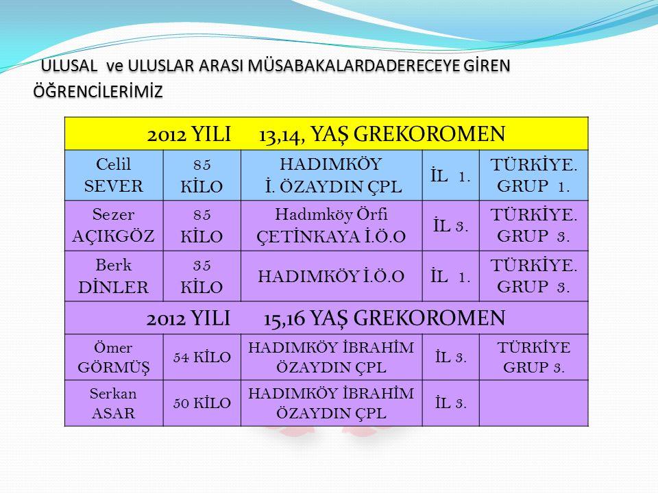 2012 YILI 13,14, YAŞ GREKOROMEN Celil SEVER 85 K İ LO HADIMKÖY İ.