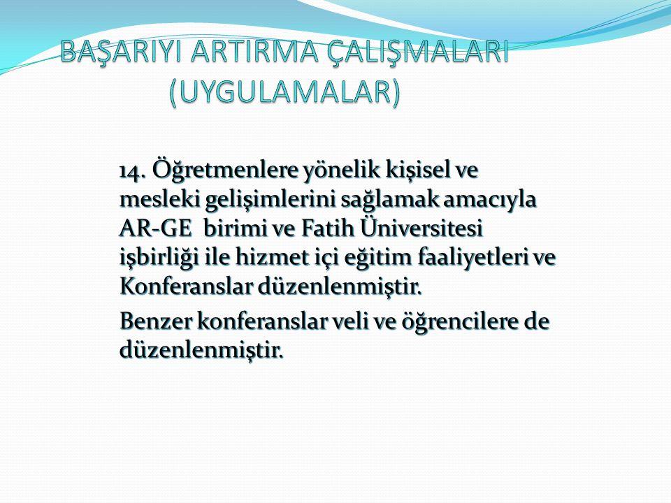 14. Öğretmenlere yönelik kişisel ve mesleki gelişimlerini sağlamak amacıyla AR-GE birimi ve Fatih Üniversitesi işbirliği ile hizmet içi eğitim faaliye