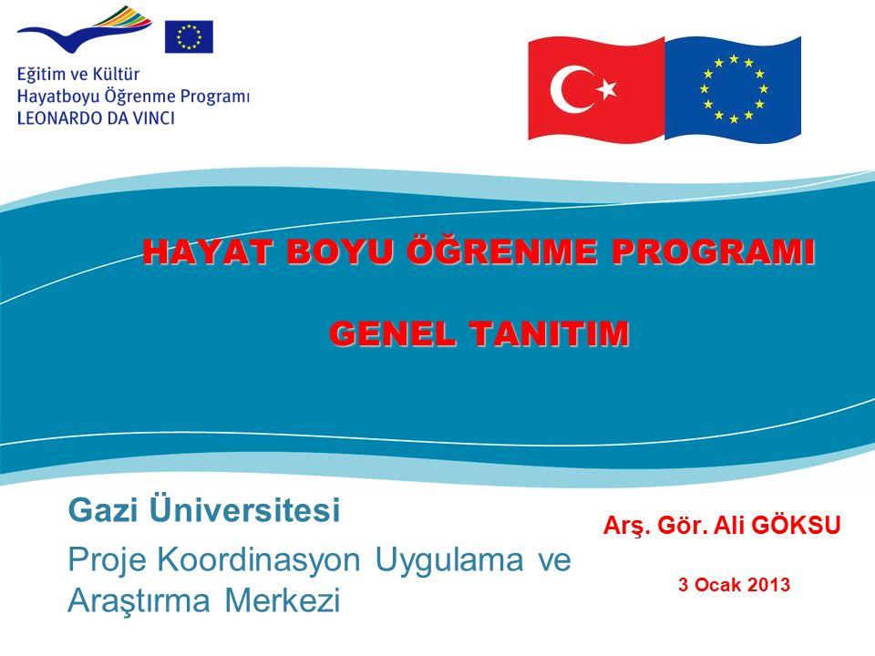 Gazi Üniversitesi Proje Koordinasyon Uygulama ve Araştırma Merkezi HAYAT BOYU ÖĞRENME PROGRAMI GENEL TANITIM Arş.