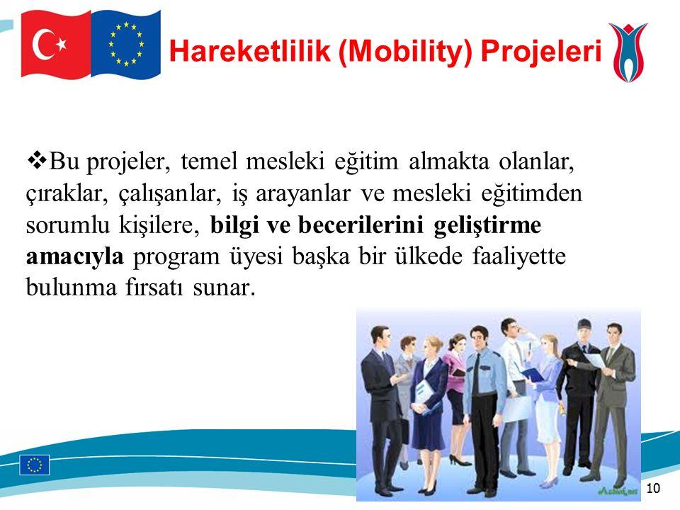 Hareketlilik (Mobility) Projeleri  Bu projeler, temel mesleki eğitim almakta olanlar, çıraklar, çalışanlar, iş arayanlar ve mesleki eğitimden sorumlu kişilere, bilgi ve becerilerini geliştirme amacıyla program üyesi başka bir ülkede faaliyette bulunma fırsatı sunar.