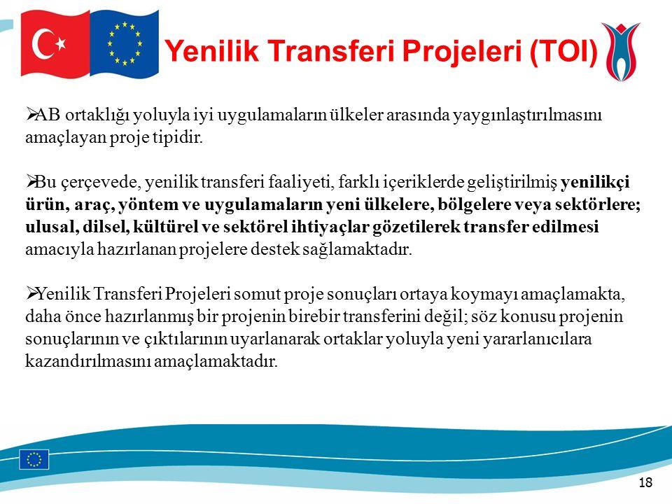 Yenilik Transferi Projeleri (TOI)  AB ortaklığı yoluyla iyi uygulamaların ülkeler arasında yaygınlaştırılmasını amaçlayan proje tipidir.