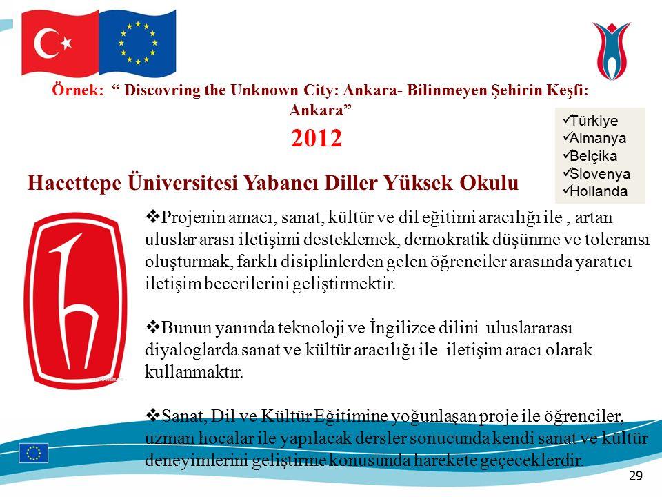 Örnek: Discovring the Unknown City: Ankara- Bilinmeyen Şehirin Keşfi: Ankara Türkiye Almanya Belçika Slovenya Hollanda Hacettepe Üniversitesi Yabancı Diller Yüksek Okulu  Projenin amacı, sanat, kültür ve dil eğitimi aracılığı ile, artan uluslar arası iletişimi desteklemek, demokratik düşünme ve toleransı oluşturmak, farklı disiplinlerden gelen öğrenciler arasında yaratıcı iletişim becerilerini geliştirmektir.