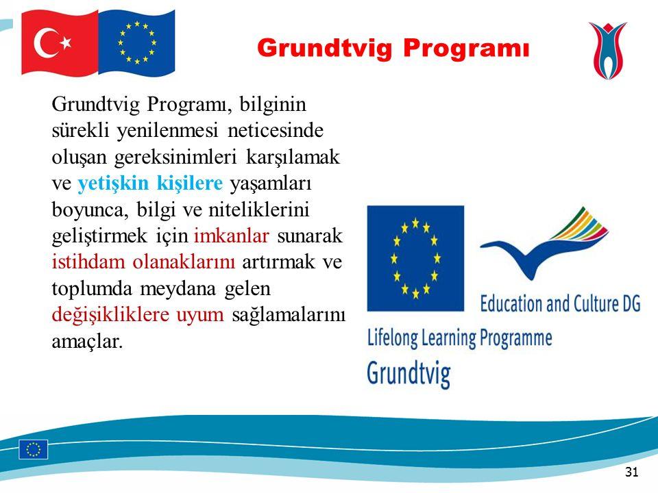 31 Grundtvig Programı, bilginin sürekli yenilenmesi neticesinde oluşan gereksinimleri karşılamak ve yetişkin kişilere yaşamları boyunca, bilgi ve niteliklerini geliştirmek için imkanlar sunarak istihdam olanaklarını artırmak ve toplumda meydana gelen değişikliklere uyum sağlamalarını amaçlar.