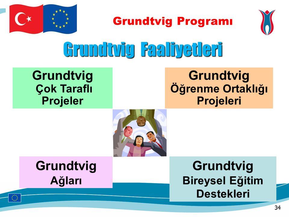 Grundtvig Programı Grundtvig Faaliyetleri Grundtvig Çok Taraflı Projeler Grundtvig Öğrenme Ortaklığı Projeleri Grundtvig Bireysel Eğitim Destekleri Grundtvig Ağları 34