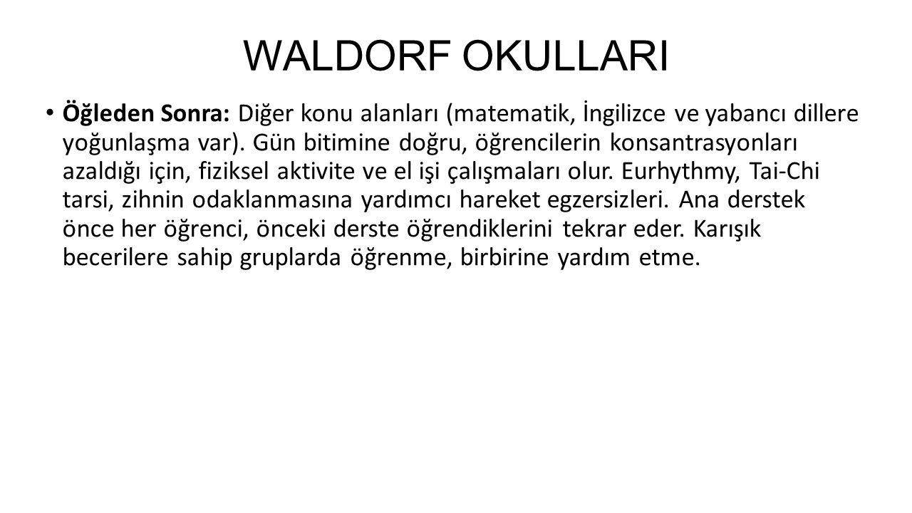 WALDORF OKULLARI Öğleden Sonra: Diğer konu alanları (matematik, İngilizce ve yabancı dillere yoğunlaşma var). Gün bitimine doğru, öğrencilerin konsant