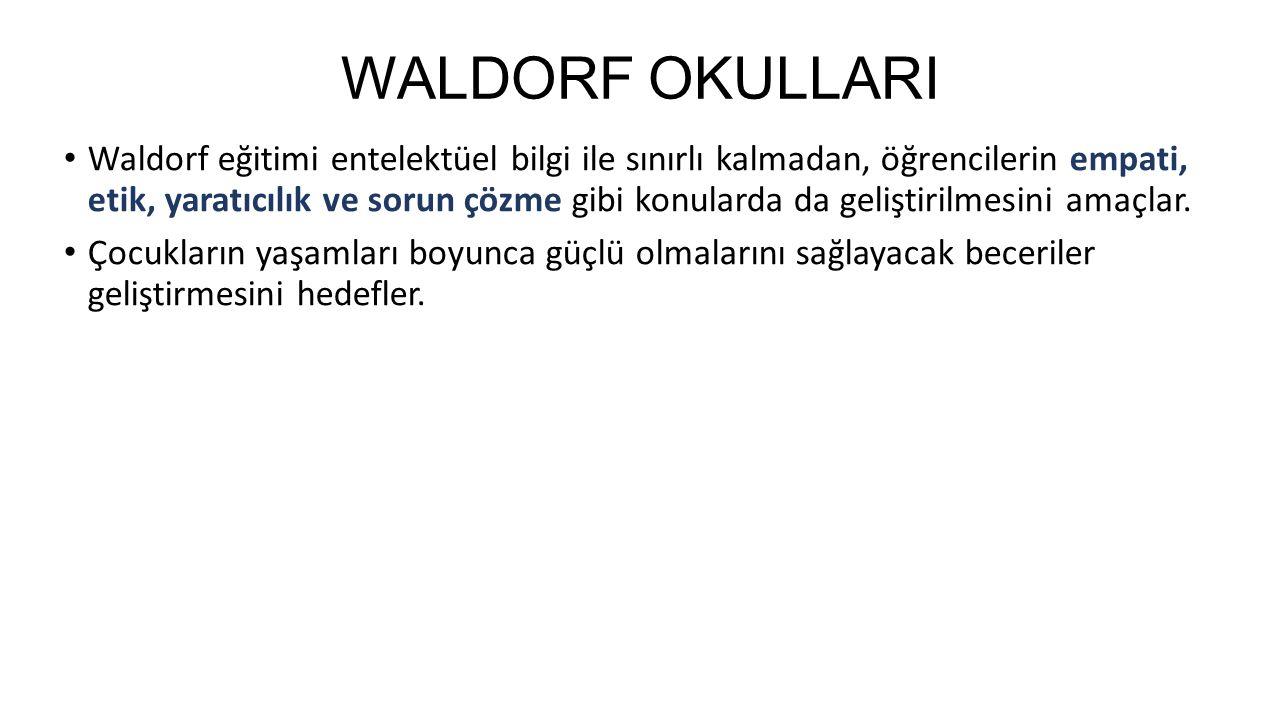 WALDORF OKULLARI Waldorf eğitimi entelektüel bilgi ile sınırlı kalmadan, öğrencilerin empati, etik, yaratıcılık ve sorun çözme gibi konularda da geliştirilmesini amaçlar.