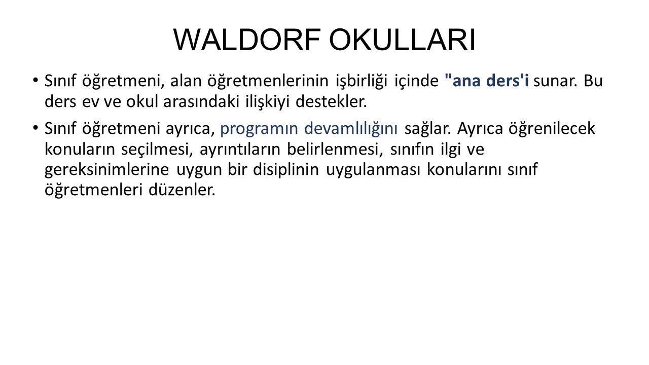 WALDORF OKULLARI Sınıf öğretmeni, alan öğretmenlerinin işbirliği içinde ana ders i sunar.