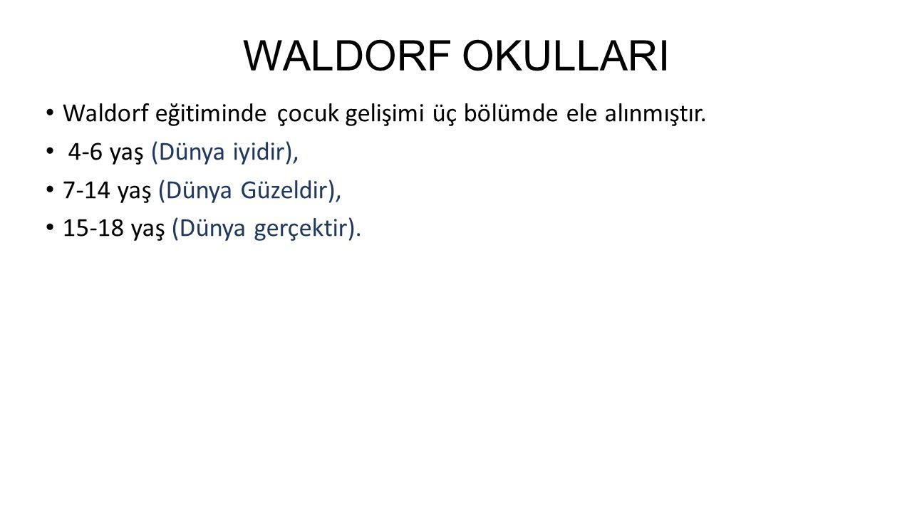 WALDORF OKULLARI Waldorf eğitiminde çocuk gelişimi üç bölümde ele alınmıştır. 4-6 yaş (Dünya iyidir), 7-14 yaş (Dünya Güzeldir), 15-18 yaş (Dünya gerç