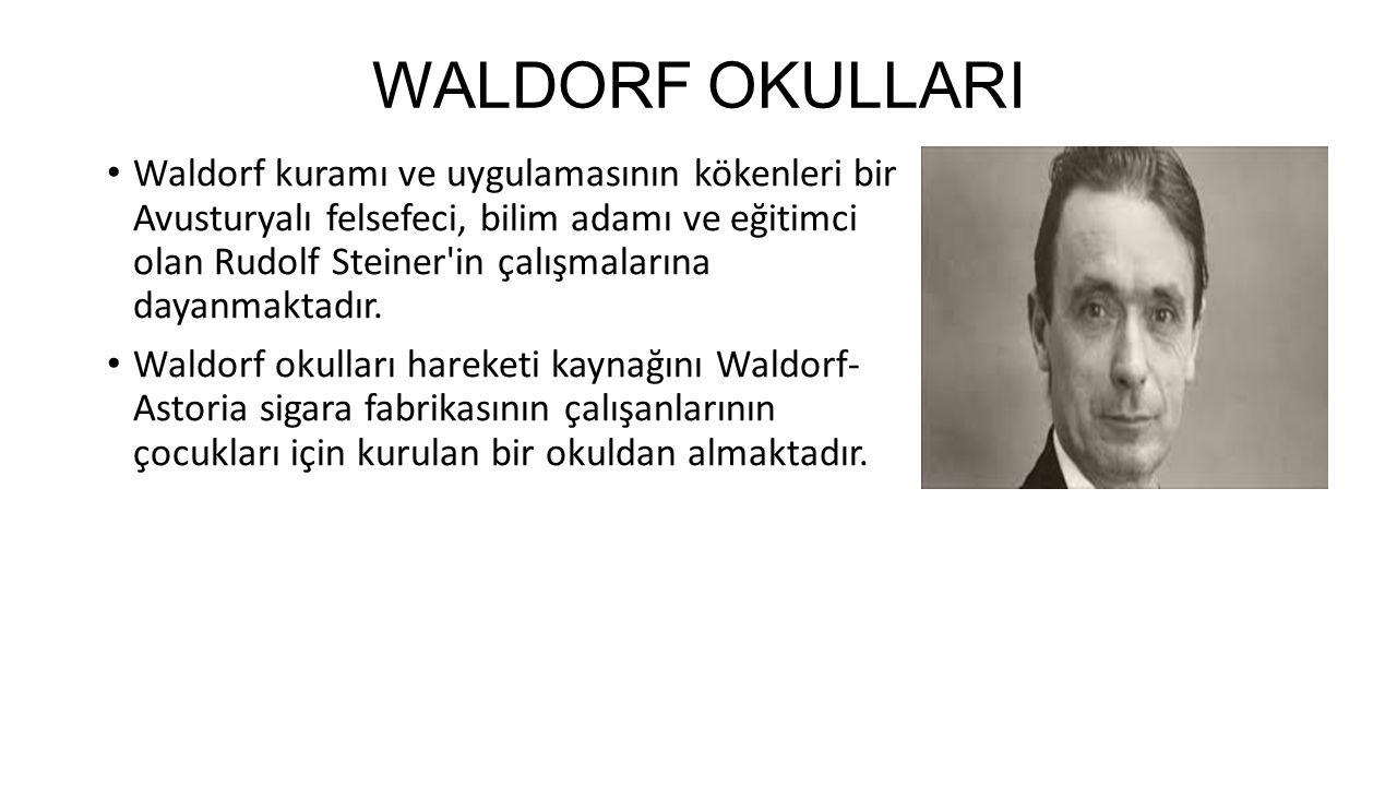 WALDORF OKULLARI Waldorf kuramı ve uygulamasının kökenleri bir Avusturyalı felsefeci, bilim adamı ve eğitimci olan Rudolf Steiner'in çalışmalarına da
