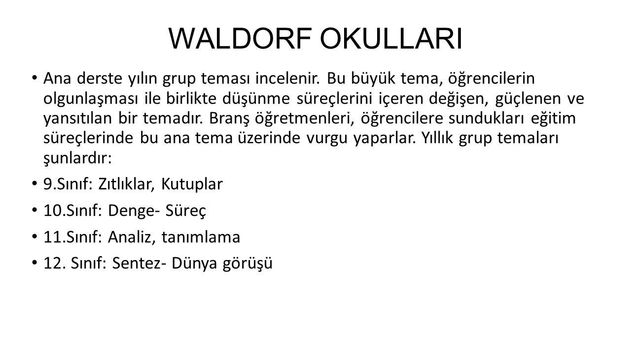 WALDORF OKULLARI Ana derste yılın grup teması incelenir.