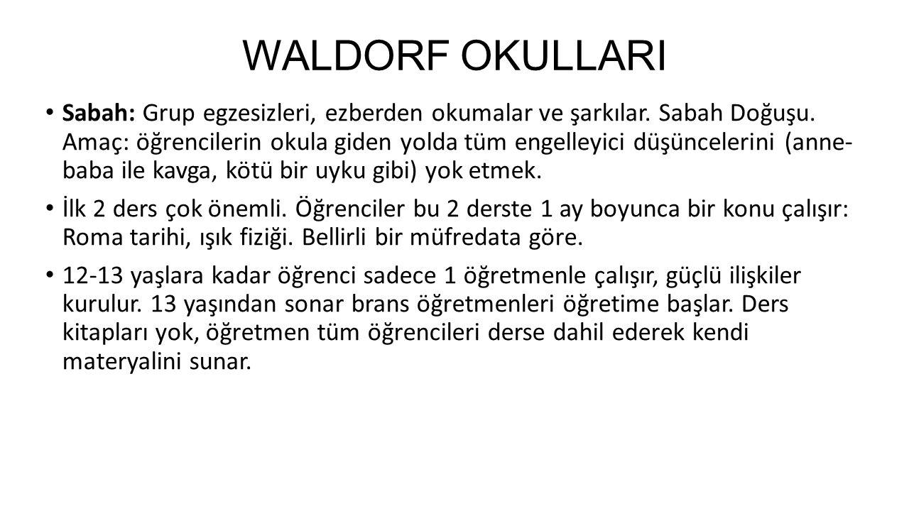 WALDORF OKULLARI Sabah: Grup egzesizleri, ezberden okumalar ve şarkılar. Sabah Doğuşu. Amaç: öğrencilerin okula giden yolda tüm engelleyici düşünceler