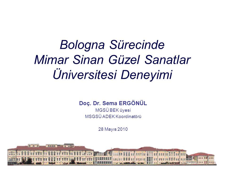Bologna Sürecinde Mimar Sinan Güzel Sanatlar Üniversitesi Deneyimi Doç.