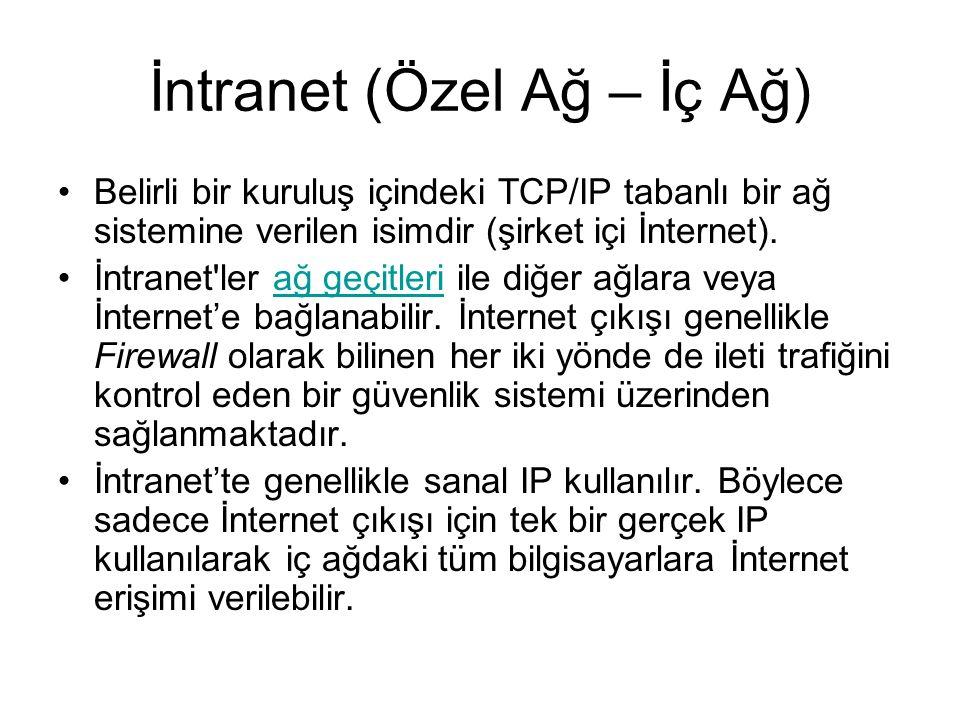 İntranet (Özel Ağ – İç Ağ) Belirli bir kuruluş içindeki TCP/IP tabanlı bir ağ sistemine verilen isimdir (şirket içi İnternet).