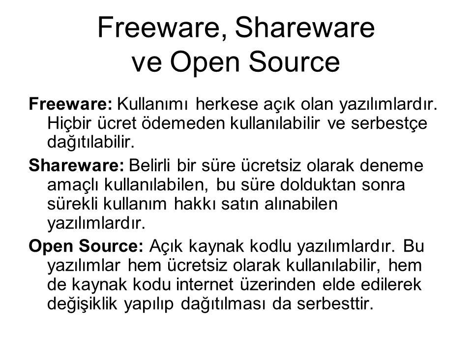 Freeware, Shareware ve Open Source Freeware: Kullanımı herkese açık olan yazılımlardır.