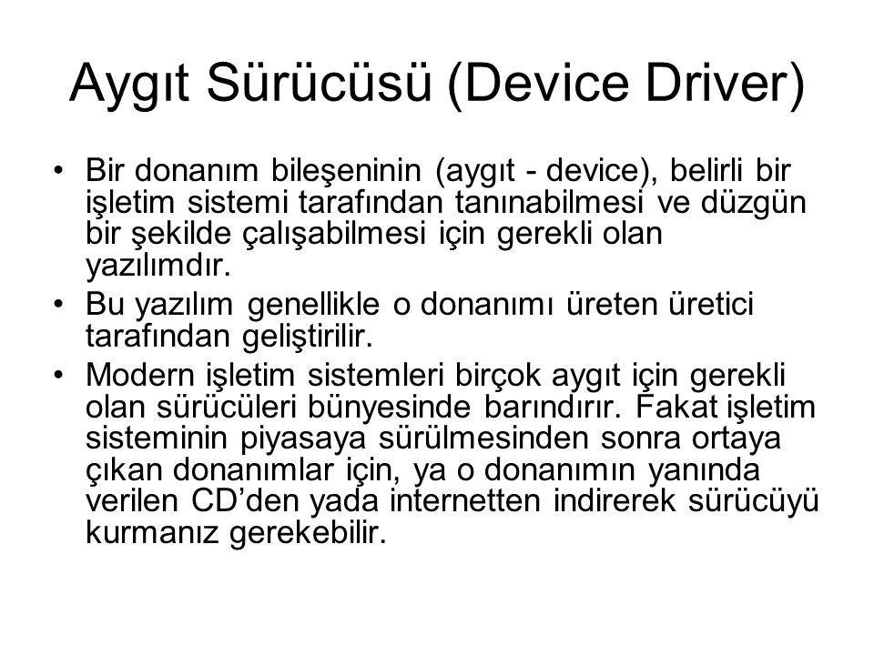 Aygıt Sürücüsü (Device Driver) Bir donanım bileşeninin (aygıt - device), belirli bir işletim sistemi tarafından tanınabilmesi ve düzgün bir şekilde çalışabilmesi için gerekli olan yazılımdır.