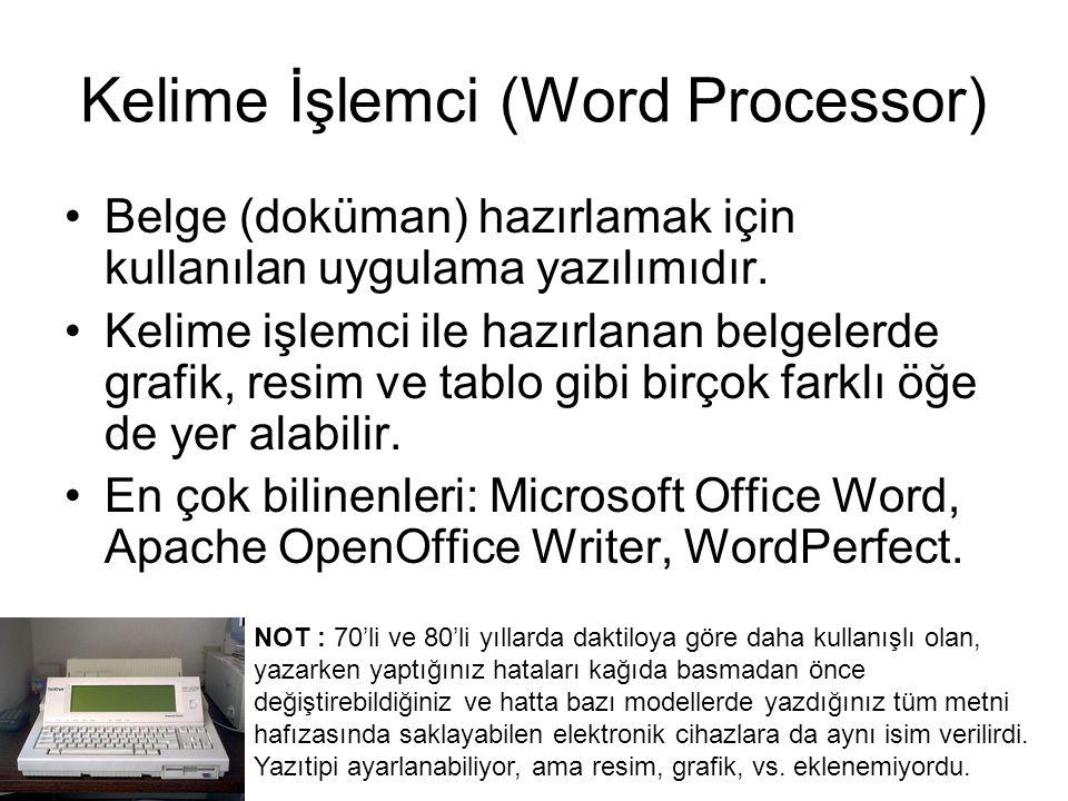 Kelime İşlemci (Word Processor) Belge (doküman) hazırlamak için kullanılan uygulama yazılımıdır.
