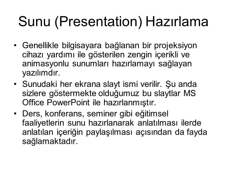 Sunu (Presentation) Hazırlama Genellikle bilgisayara bağlanan bir projeksiyon cihazı yardımı ile gösterilen zengin içerikli ve animasyonlu sunumları hazırlamayı sağlayan yazılımdır.
