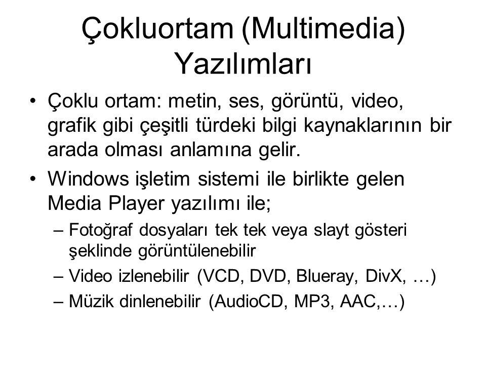 Çokluortam (Multimedia) Yazılımları Çoklu ortam: metin, ses, görüntü, video, grafik gibi çeşitli türdeki bilgi kaynaklarının bir arada olması anlamına gelir.