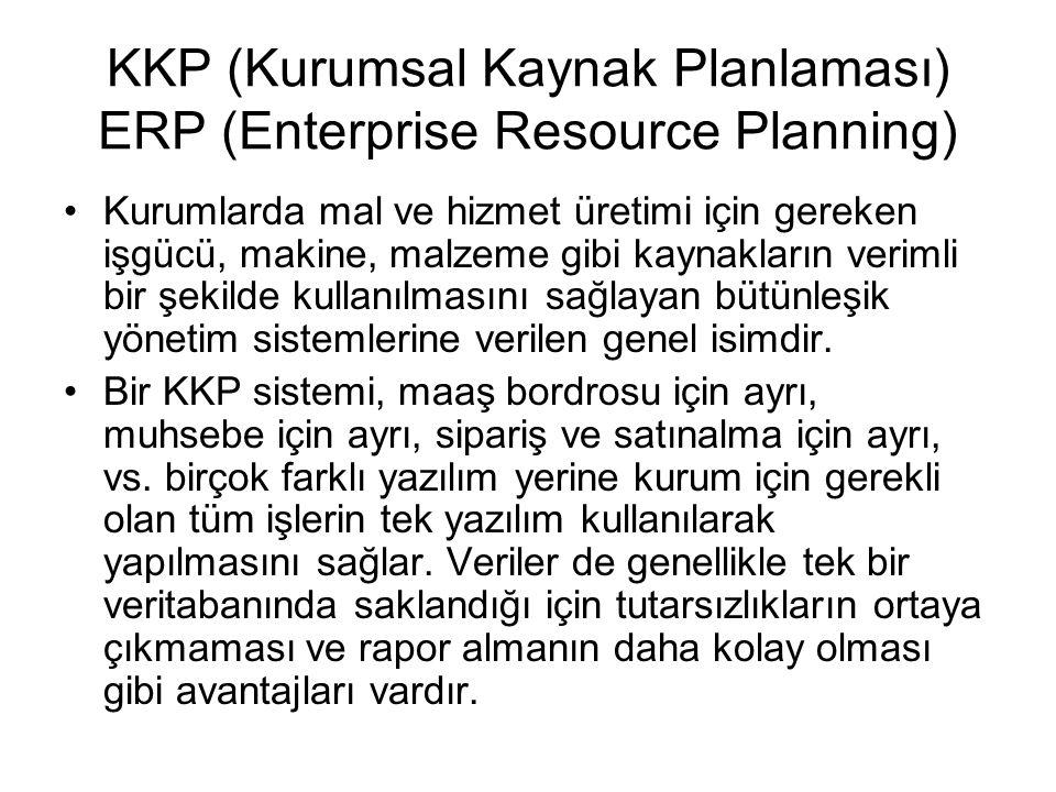 KKP (Kurumsal Kaynak Planlaması) ERP (Enterprise Resource Planning) Kurumlarda mal ve hizmet üretimi için gereken işgücü, makine, malzeme gibi kaynakların verimli bir şekilde kullanılmasını sağlayan bütünleşik yönetim sistemlerine verilen genel isimdir.