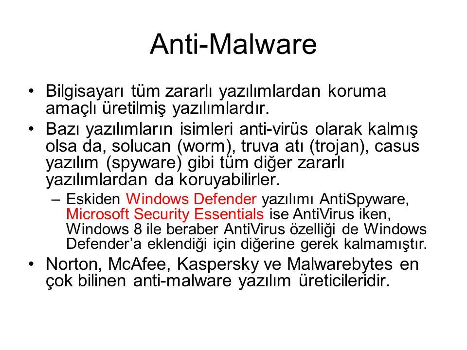 Anti-Malware Bilgisayarı tüm zararlı yazılımlardan koruma amaçlı üretilmiş yazılımlardır.