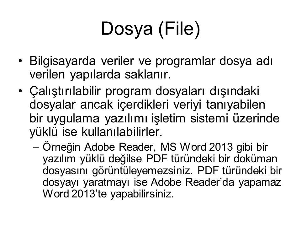 Dosya (File) Bilgisayarda veriler ve programlar dosya adı verilen yapılarda saklanır.