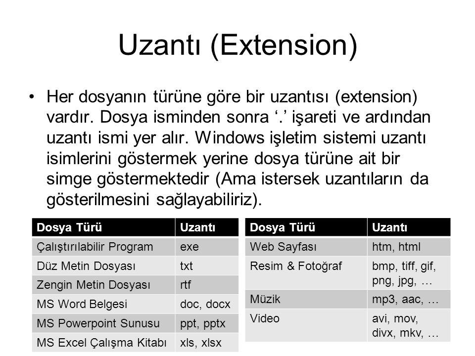Uzantı (Extension) Her dosyanın türüne göre bir uzantısı (extension) vardır.