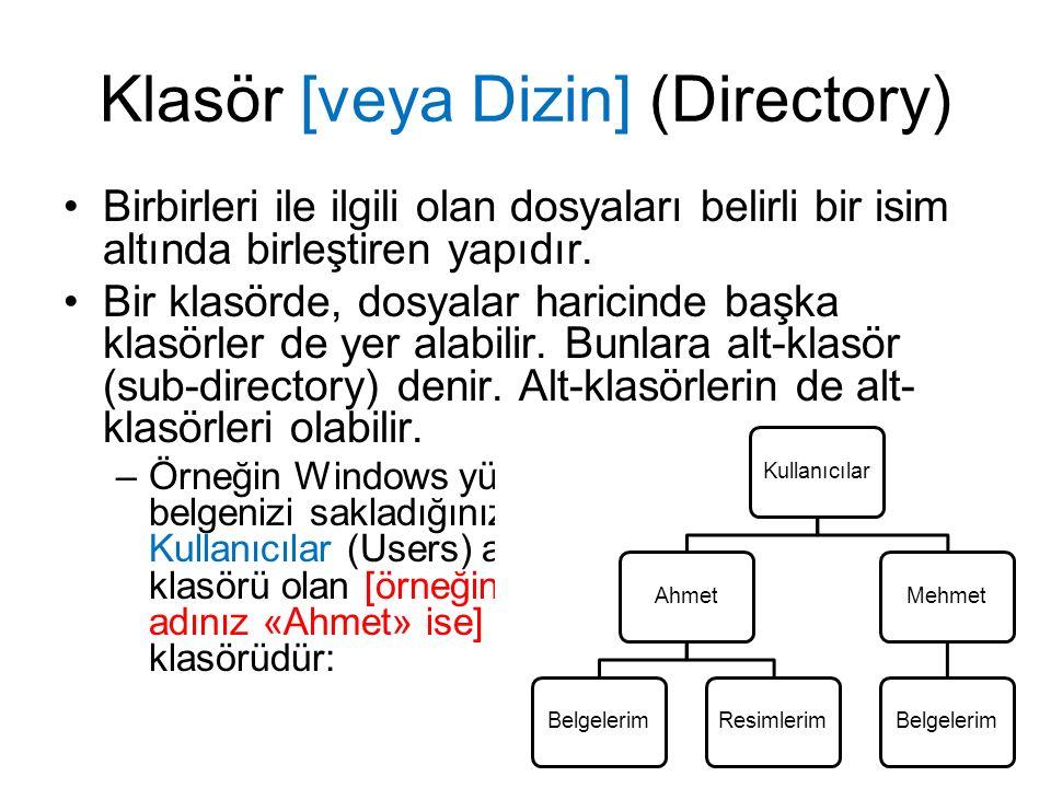 Klasör [veya Dizin] (Directory) Birbirleri ile ilgili olan dosyaları belirli bir isim altında birleştiren yapıdır.
