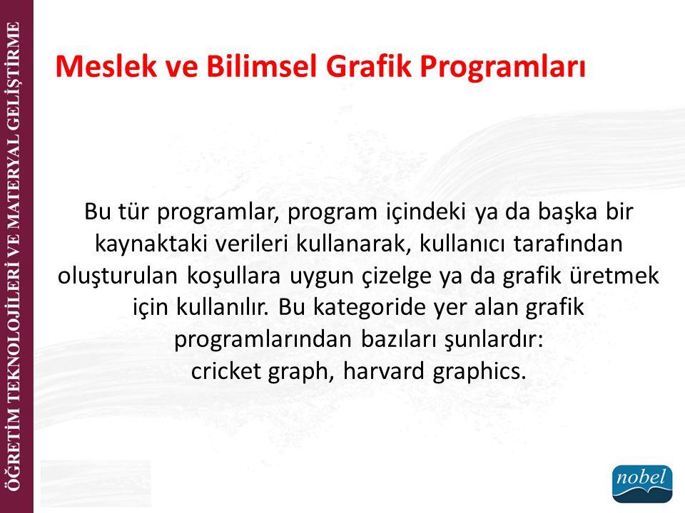 Meslek ve Bilimsel Grafik Programları Bu tür programlar, program içindeki ya da başka bir kaynaktaki verileri kullanarak, kullanıcı tarafından oluştur