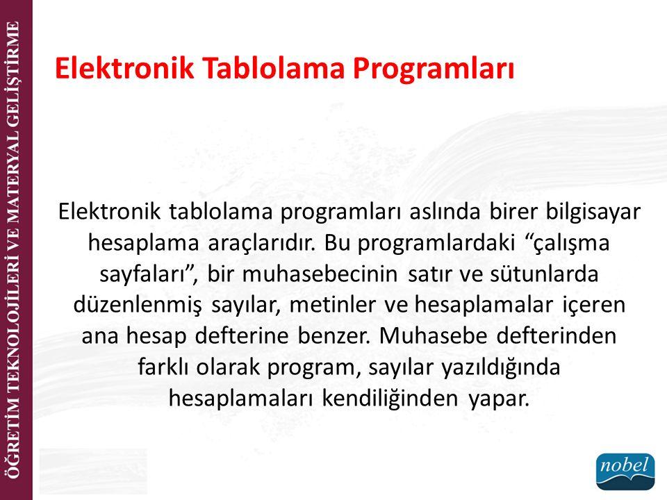 """Elektronik Tablolama Programları Elektronik tablolama programları aslında birer bilgisayar hesaplama araçlarıdır. Bu programlardaki """"çalışma sayfaları"""