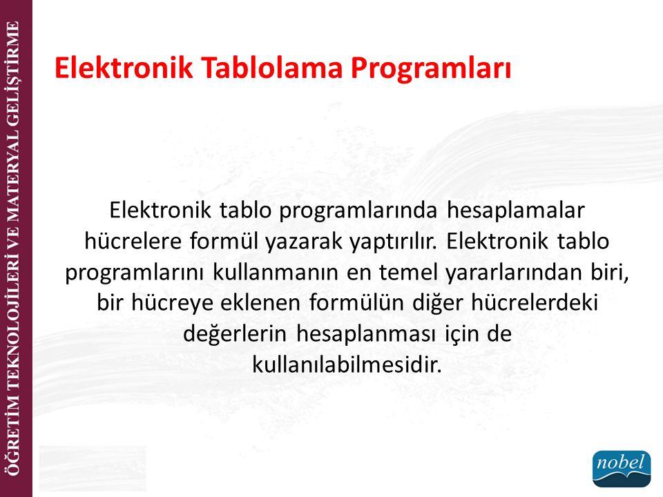 Elektronik tablo programlarında hesaplamalar hücrelere formül yazarak yaptırılır. Elektronik tablo programlarını kullanmanın en temel yararlarından bi