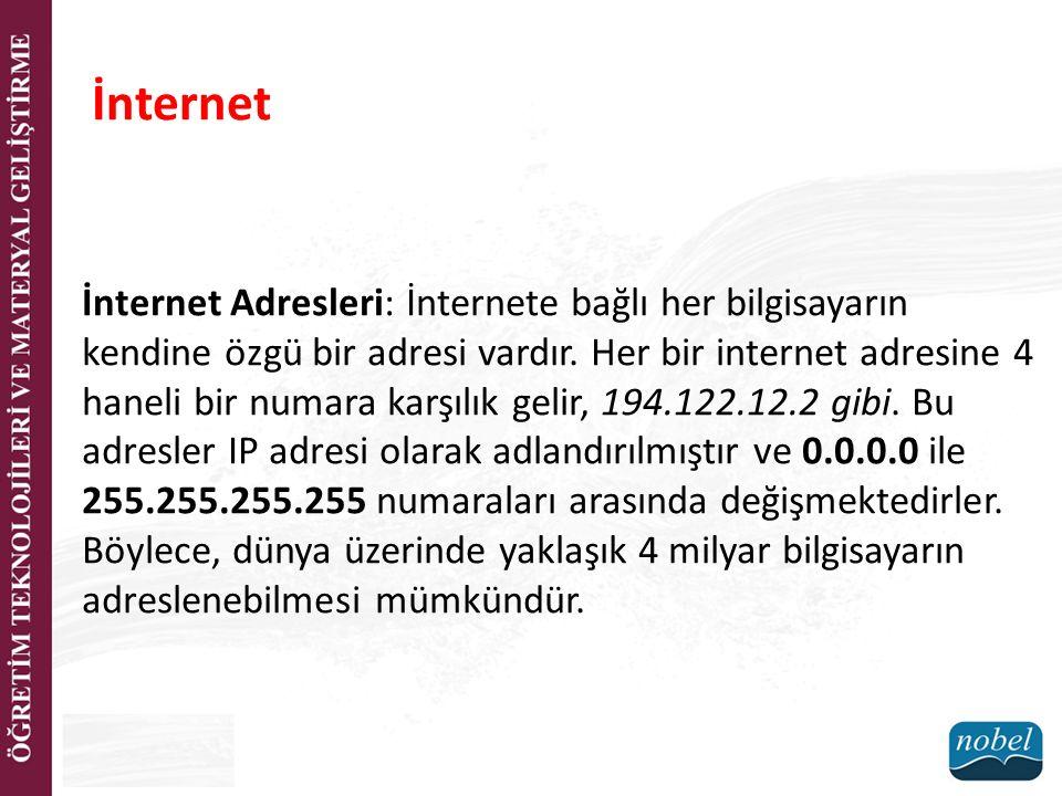 İnternet Adresleri: İnternete bağlı her bilgisayarın kendine özgü bir adresi vardır. Her bir internet adresine 4 haneli bir numara karşılık gelir, 194