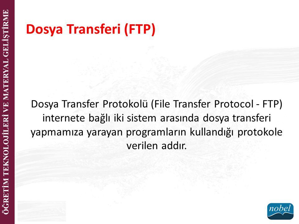 Dosya Transferi (FTP) Dosya Transfer Protokolü (File Transfer Protocol - FTP) internete bağlı iki sistem arasında dosya transferi yapmamıza yarayan pr