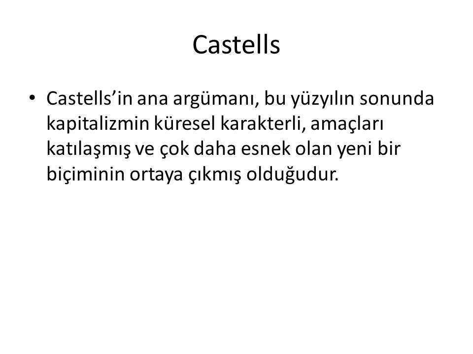 Castells Castells'in ana argümanı, bu yüzyılın sonunda kapitalizmin küresel karakterli, amaçları katılaşmış ve çok daha esnek olan yeni bir biçiminin ortaya çıkmış olduğudur.