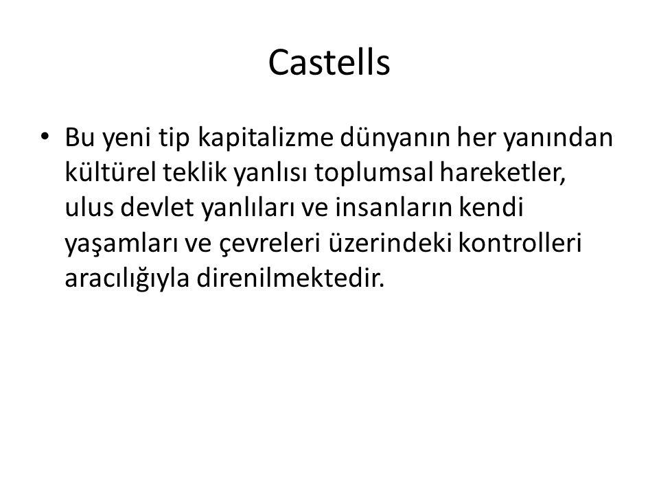 Castells Bu yeni tip kapitalizme dünyanın her yanından kültürel teklik yanlısı toplumsal hareketler, ulus devlet yanlıları ve insanların kendi yaşamları ve çevreleri üzerindeki kontrolleri aracılığıyla direnilmektedir.