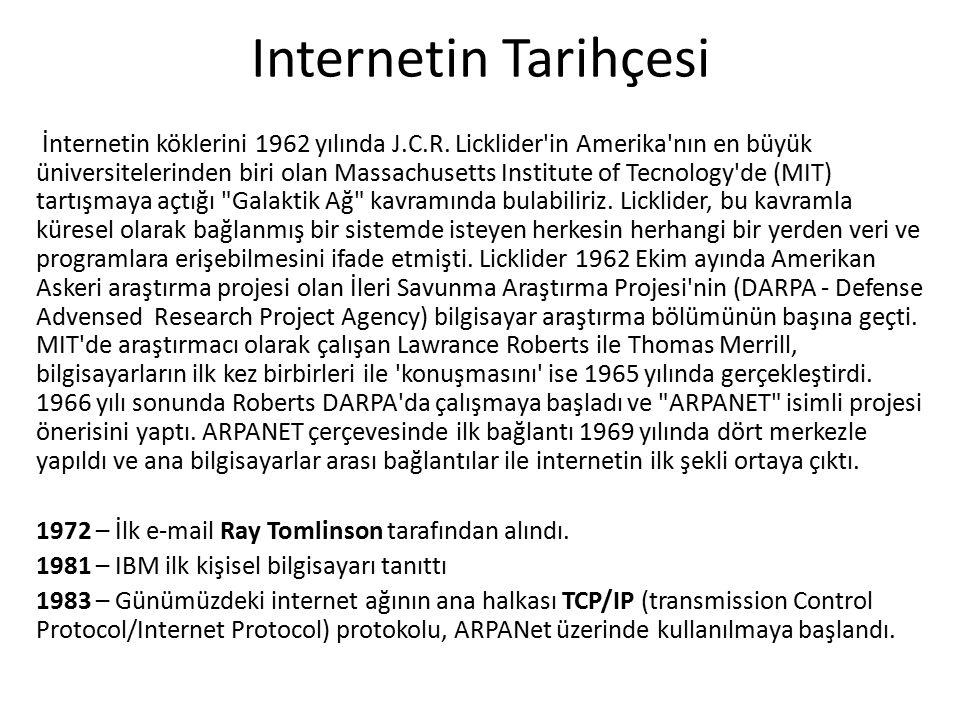 Internetin Tarihçesi İnternetin köklerini 1962 yılında J.C.R.