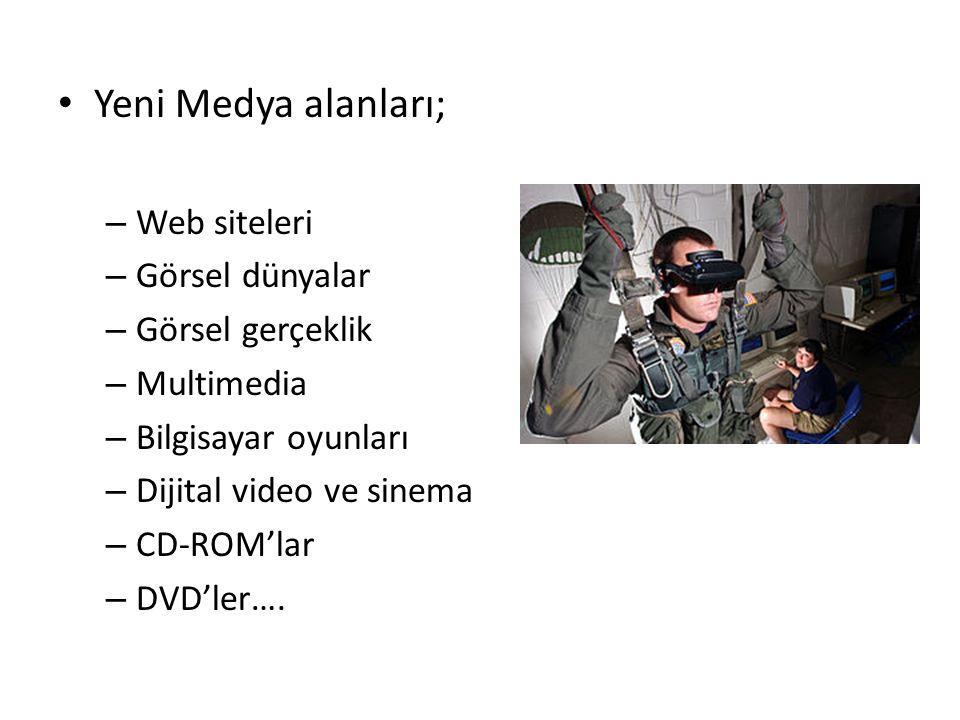 Yeni Medya alanları; – Web siteleri – Görsel dünyalar – Görsel gerçeklik – Multimedia – Bilgisayar oyunları – Dijital video ve sinema – CD-ROM'lar – DVD'ler….