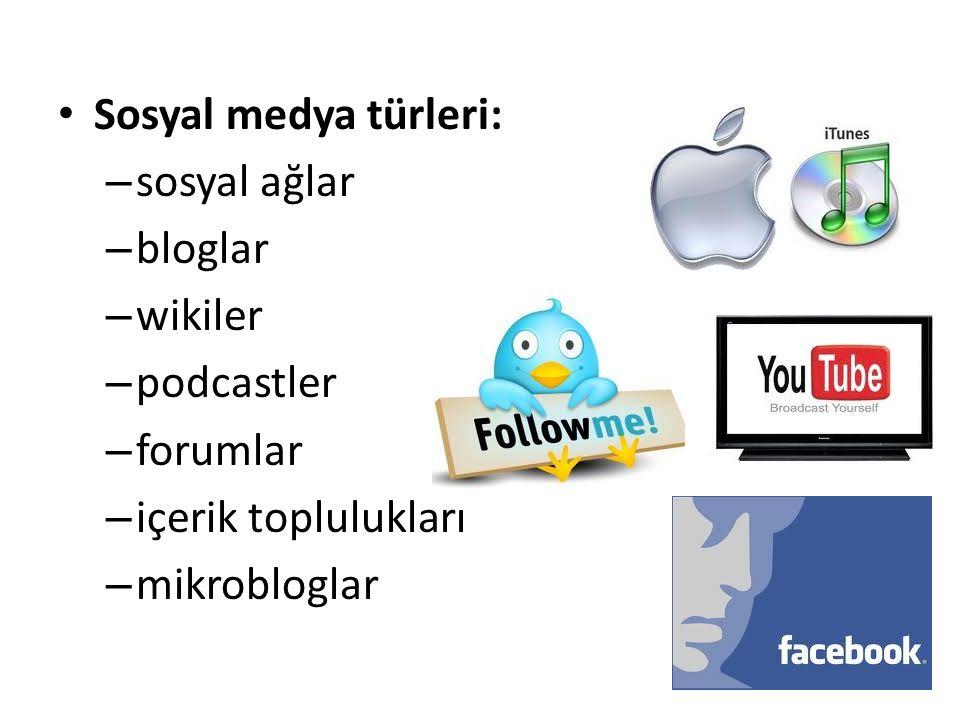 Sosyal medya türleri: – sosyal ağlar – bloglar – wikiler – podcastler – forumlar – içerik toplulukları – mikrobloglar