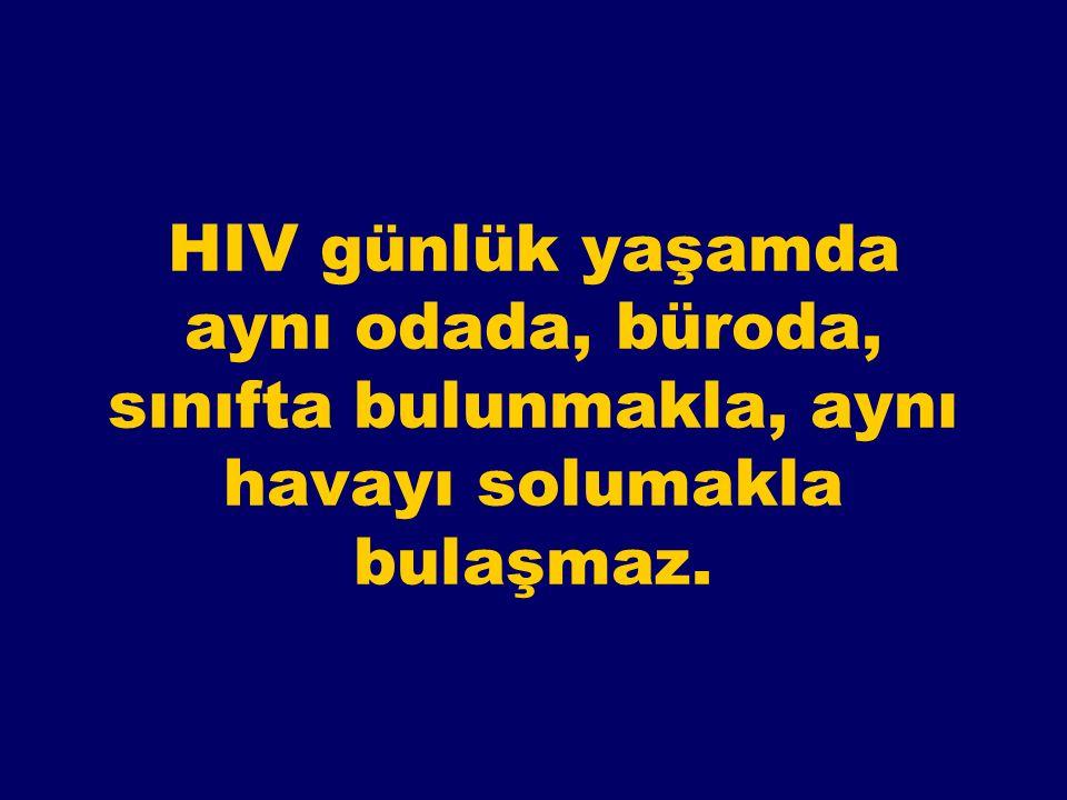 AIDS'in bulaşmadığı durumlar Aile yaşantısı, toplumsal yaşam El sıkışma, kuçaklaşma, cilt temasları Sosyal öpüşme Yemek ve içki, tabak-kaşık-bardak Yüzme havuzu, banyo, tuvalet Giysi ve çamaşır Böcek ve sinek sokmaları