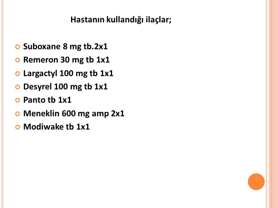 Hastanın kullandığı ilaçlar; Suboxane 8 mg tb.2x1 Remeron 30 mg tb 1x1 Largactyl 100 mg tb 1x1 Desyrel 100 mg tb 1x1 Panto tb 1x1 Meneklin 600 mg amp 2x1 Modiwake tb 1x1