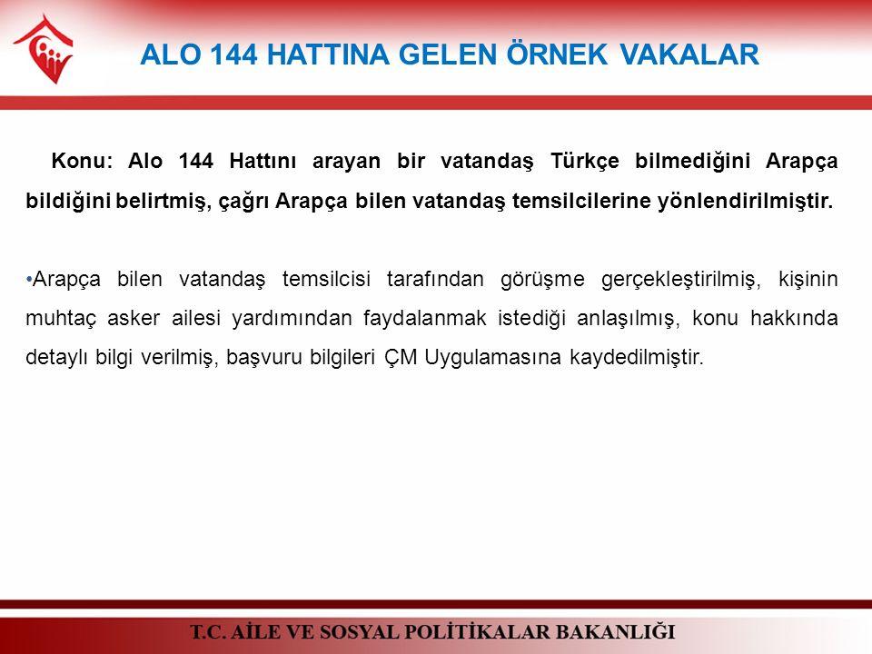 ALO 144 HATTINA GELEN ÖRNEK VAKALAR Konu: Alo 144 Hattını arayan bir vatandaş Türkçe bilmediğini Arapça bildiğini belirtmiş, çağrı Arapça bilen vatand