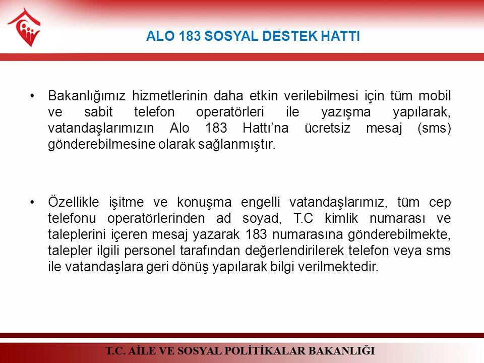 Bakanlığımız hizmetlerinin daha etkin verilebilmesi için tüm mobil ve sabit telefon operatörleri ile yazışma yapılarak, vatandaşlarımızın Alo 183 Hatt