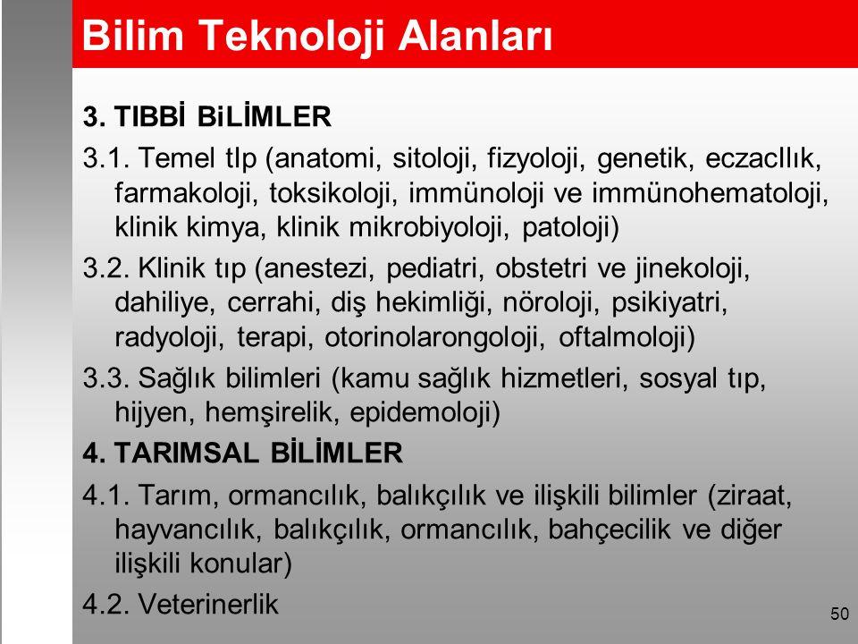 Bilim Teknoloji Alanları 3. TIBBİ BiLİMLER 3.1.