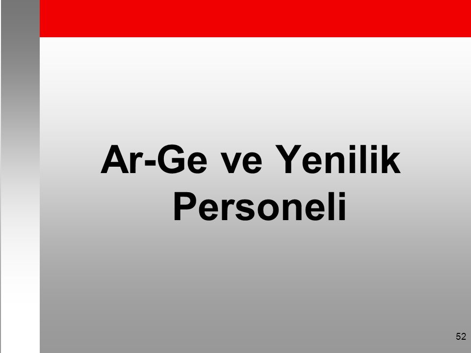 Ar-Ge ve Yenilik Personeli 52