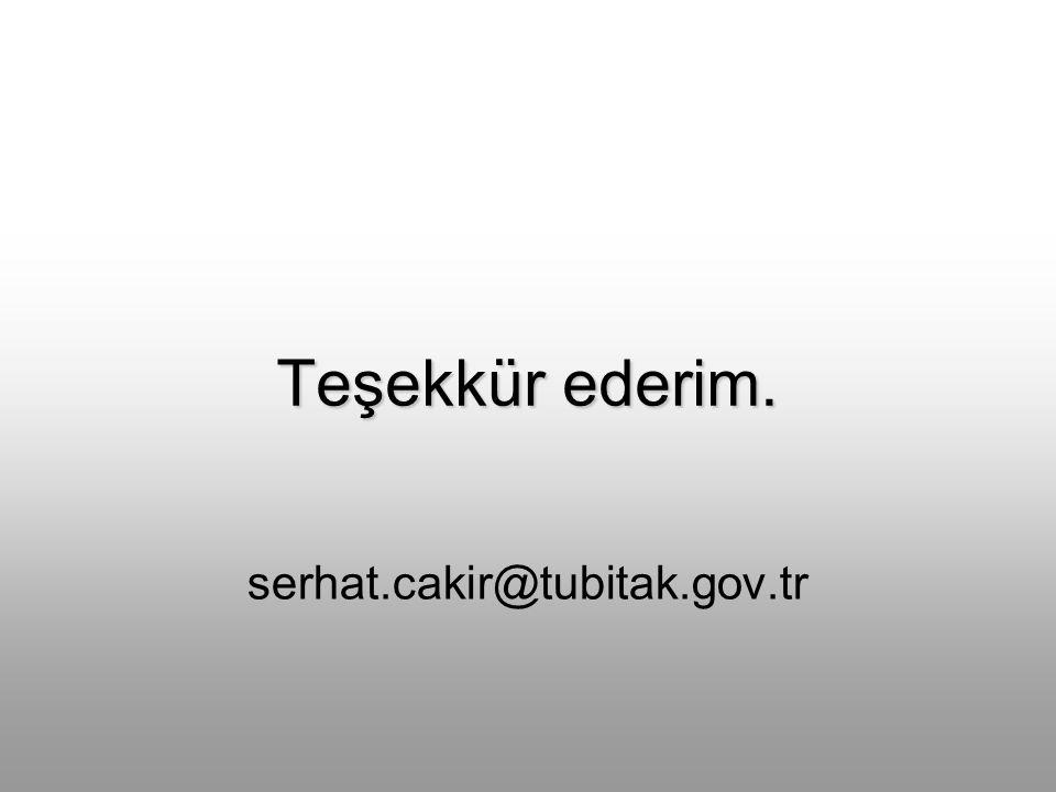 Teşekkür ederim. serhat.cakir@tubitak.gov.tr