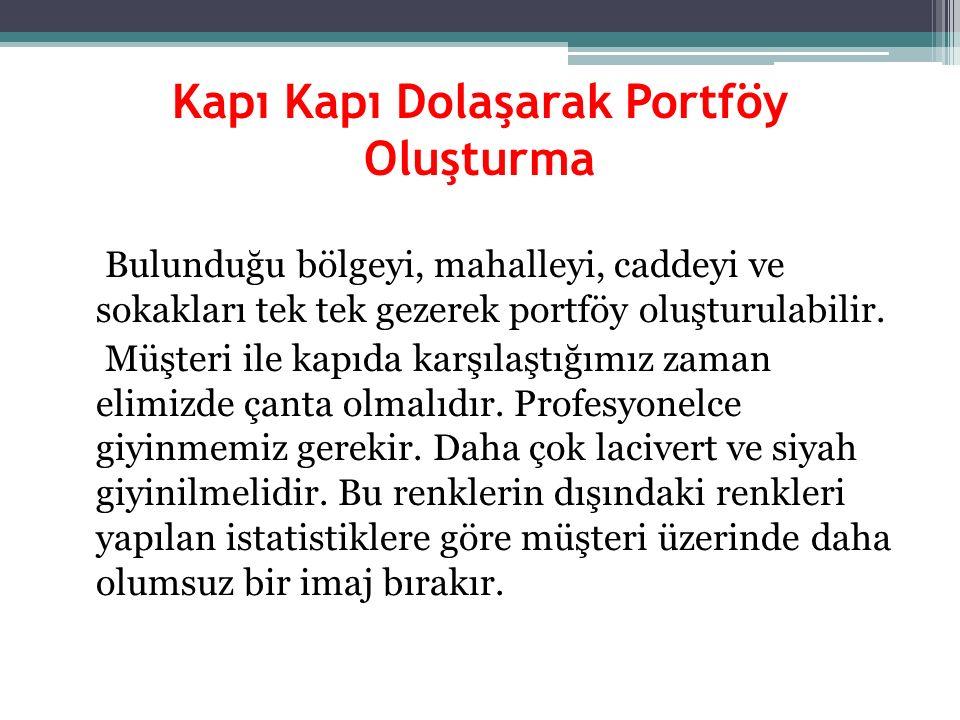 Kapı Kapı Dolaşarak Portföy Oluşturma Bulunduğu bölgeyi, mahalleyi, caddeyi ve sokakları tek tek gezerek portföy oluşturulabilir. Müşteri ile kapıda k