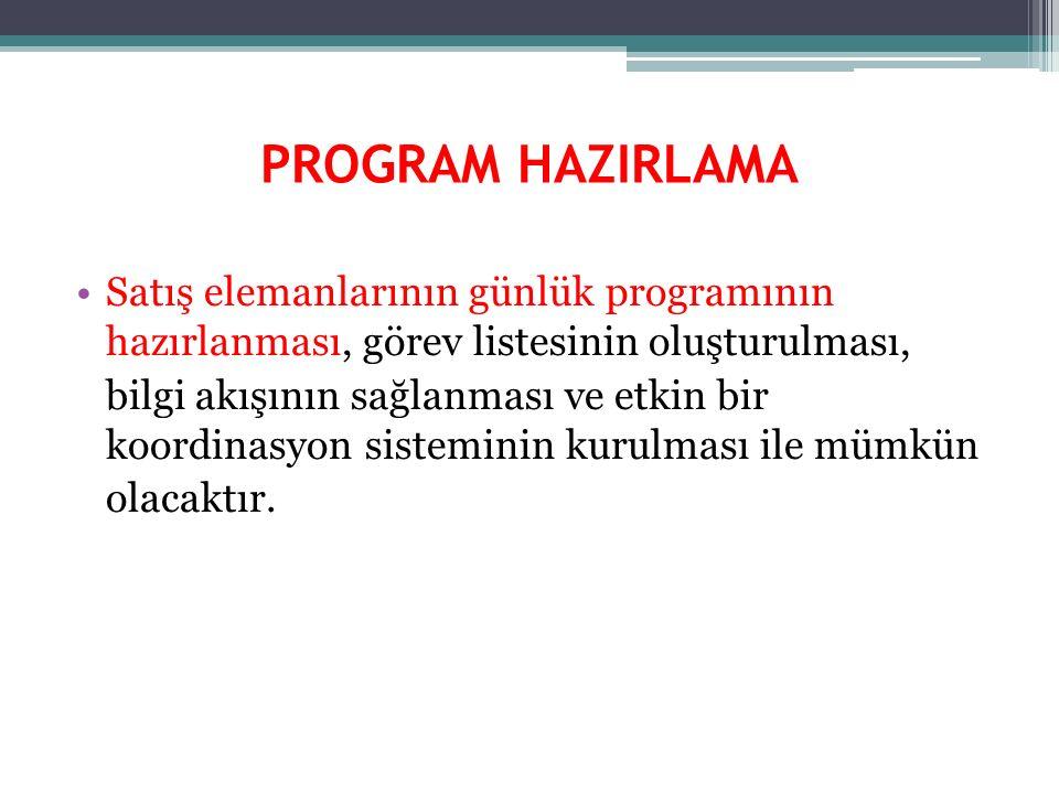 PROGRAM HAZIRLAMA Satış elemanlarının günlük programının hazırlanması, görev listesinin oluşturulması, bilgi akışının sağlanması ve etkin bir koordina