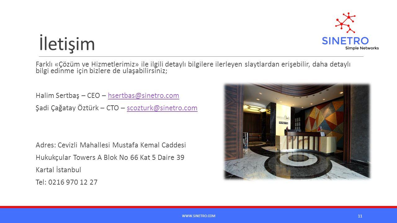 İletişim Farklı «Çözüm ve Hizmetlerimiz» ile ilgili detaylı bilgilere ilerleyen slaytlardan erişebilir, daha detaylı bilgi edinme için bizlere de ulaşabilirsiniz; Halim Sertbaş – CEO – hsertbas@sinetro.comhsertbas@sinetro.com Şadi Çağatay Öztürk – CTO – scozturk@sinetro.comscozturk@sinetro.com Adres: Cevizli Mahallesi Mustafa Kemal Caddesi Hukukçular Towers A Blok No 66 Kat 5 Daire 39 Kartal İstanbul Tel: 0216 970 12 27 WWW.SINETRO.COM 11