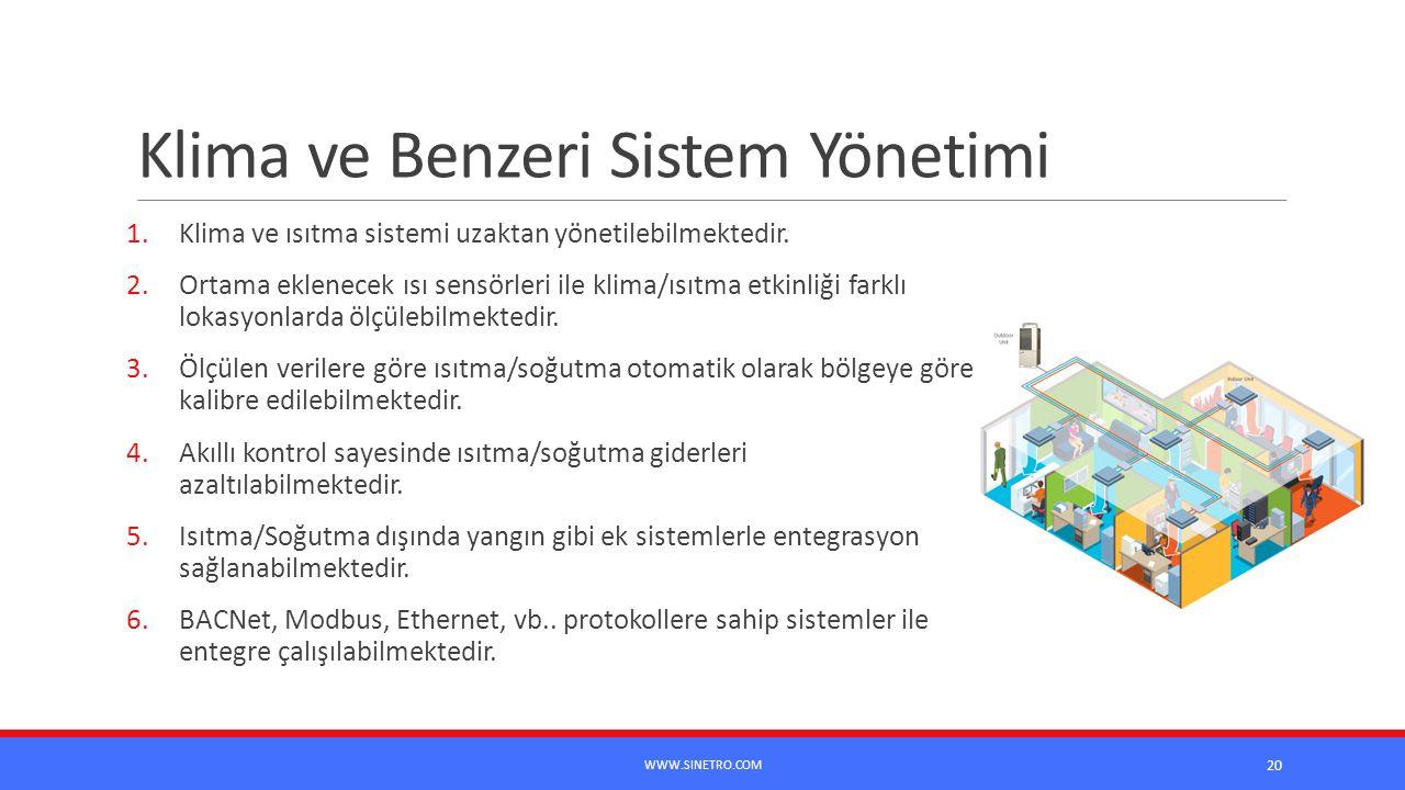 Klima ve Benzeri Sistem Yönetimi 1.Klima ve ısıtma sistemi uzaktan yönetilebilmektedir. 2.Ortama eklenecek ısı sensörleri ile klima/ısıtma etkinliği f